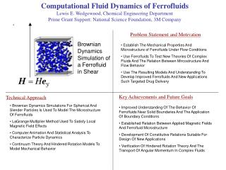 Computational Fluid Dynamics of Ferrofluids Lewis E. Wedgewood, Chemical Engineering Department