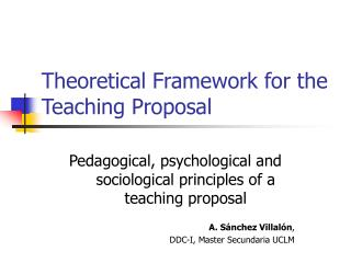 Theoretical Framework for the Teaching Proposal