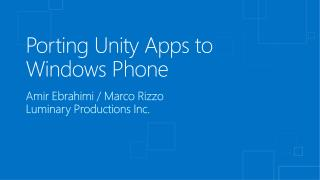 Porting Unity Apps to Windows Phone