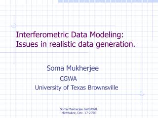 Interferometric Data Modeling: Issues in realistic data generation.