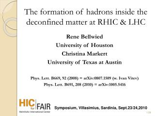 The formation of hadrons inside the deconfined matter at RHIC & LHC