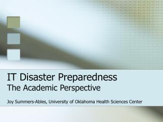 IT Disaster Preparedness