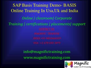 SAP Basis Training Demo- BASIS Online Training In Usa,Uk and
