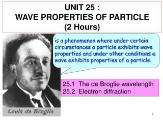 UNIT 25 : WAVE PROPERTIES OF PARTICLE (2 Hours)