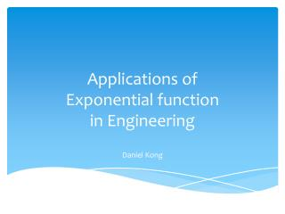 Applications of  Exponential function in Engineering