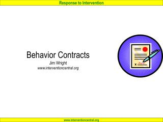 Behavior Contracts  Jim Wright interventioncentral