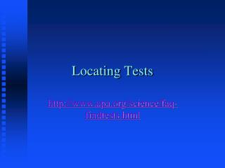 Locating Tests