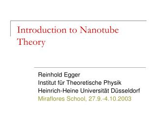 Introduction to Nanotube Theory