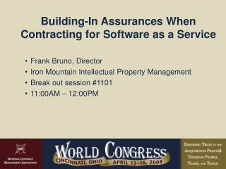 Building-In Assurances When  Contracting for Software as a Service