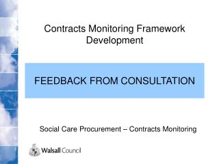 Social Care Procurement – Contracts Monitoring