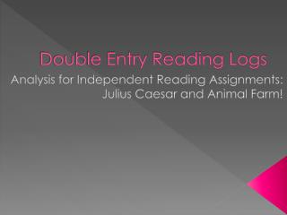 Double Entry Reading Logs