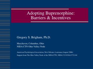 Adopting Buprenorphine:  Barriers & Incentives