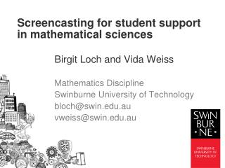 Screencasting for student support in mathematical sciences