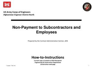 Non-Payment to Subcontractors and Employees