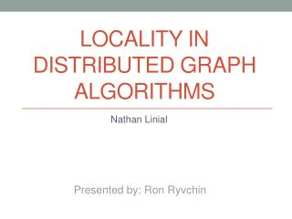 Locality in distributed graph algorithms