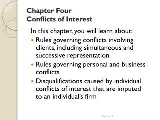 Chapter Four Conflicts of Interest