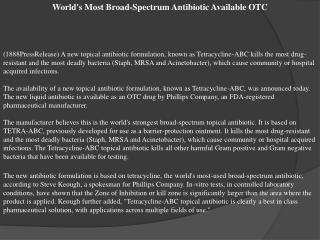 World's Most Broad-Spectrum Antibiotic Available OTC