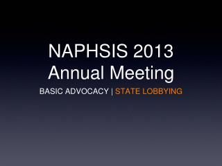 NAPHSIS 2013 Annual Meeting