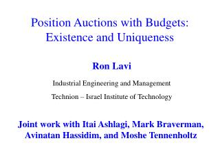 Position Auctions with Budgets: Existence and Uniqueness