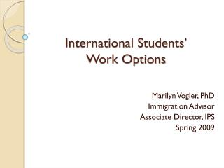 International Students   Work Options