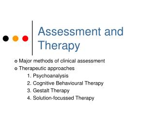 Assessment and Therapy