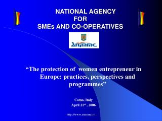NATIONAL AGENCY  FOR  SMEs AND CO-OPERATIVES
