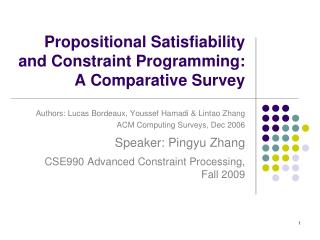 Propositional  Satisfiability  and Constraint Programming: A Comparative Survey