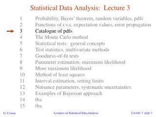 Statistical Data Analysis:  Lecture 3