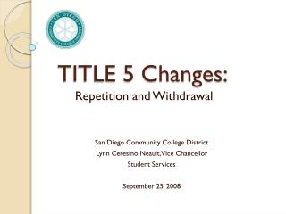 TITLE 5 Changes: