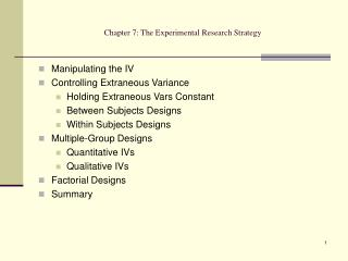 Chapter 7: The Experimental Research Strategy
