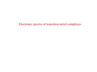 Electronic spectra  of coordination complexes