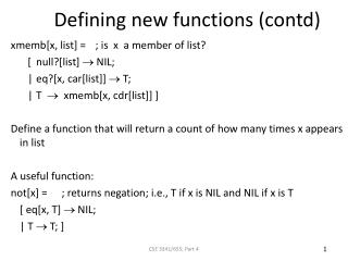 Defining new functions (contd)