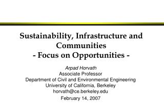 Sustainability, Infrastructure and Communities - Focus on Opportunities -