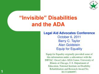 """""""Invisible"""" Disabilities  and the ADA"""