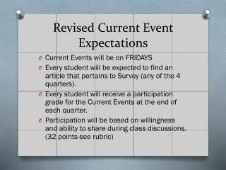 Revised Current Event Expectations