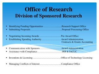 Office of Research Division of Sponsored Research