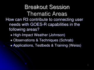 Breakout Session  Thematic Areas