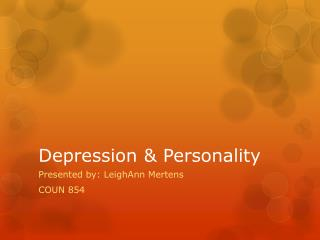 Depression & Personality