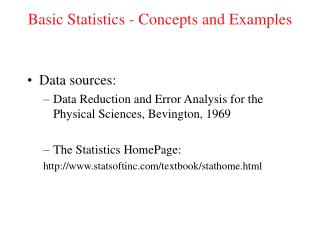 Basic Statistics - Concepts and Examples