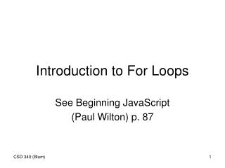 Introduction to For Loops