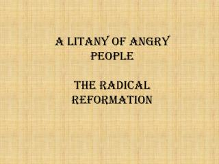 A Litany of Angry People The Radical Reformation