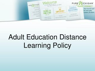 Adult Education Distance  Learning Policy