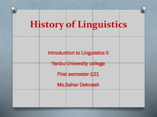 History of Linguistics