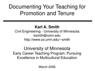 Documenting Your Teaching for Promotion and Tenure