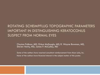 Rotating Scheimpflug Topographic Parameters Important in Distinguishing Keratoconus Suspect from normal eyes