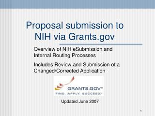 Proposal submission to NIH via Grants