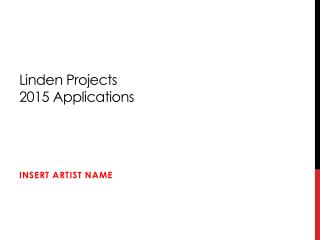 Linden Projects 2015 Applications