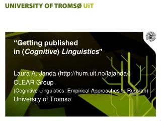 """Getting published  in ( Cognitive )  Linguistics """