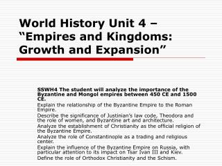 "World History Unit 4 – ""Empires and Kingdoms: Growth and Expansion"""