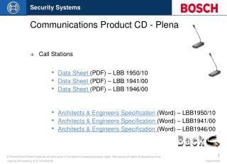 Communications Product CD - Plena